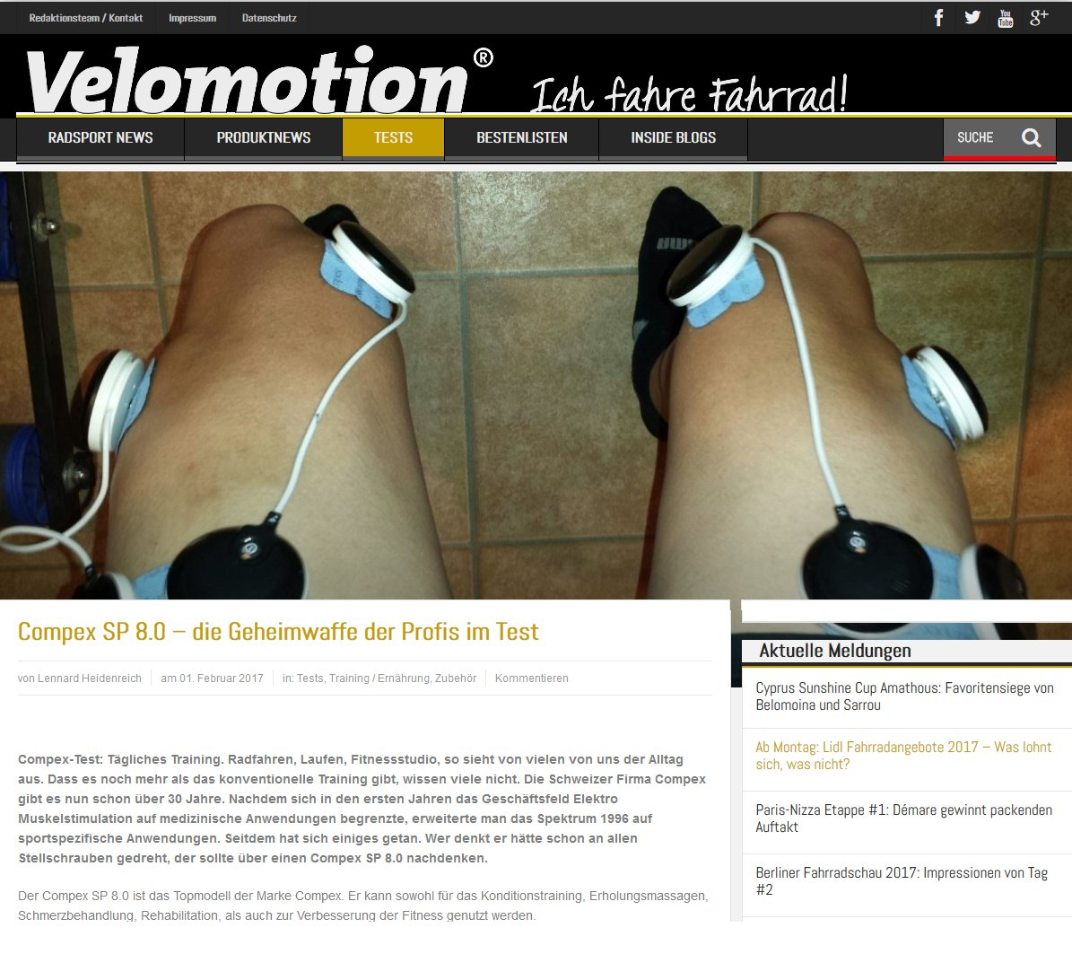 Compex im Test - Velomotion