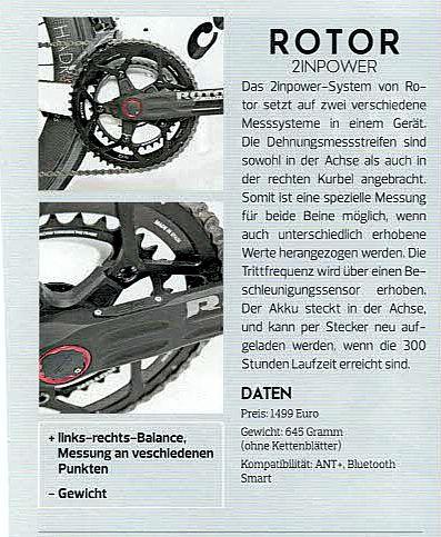 Rotor 2INpower Rennrad Scan aus Magazin