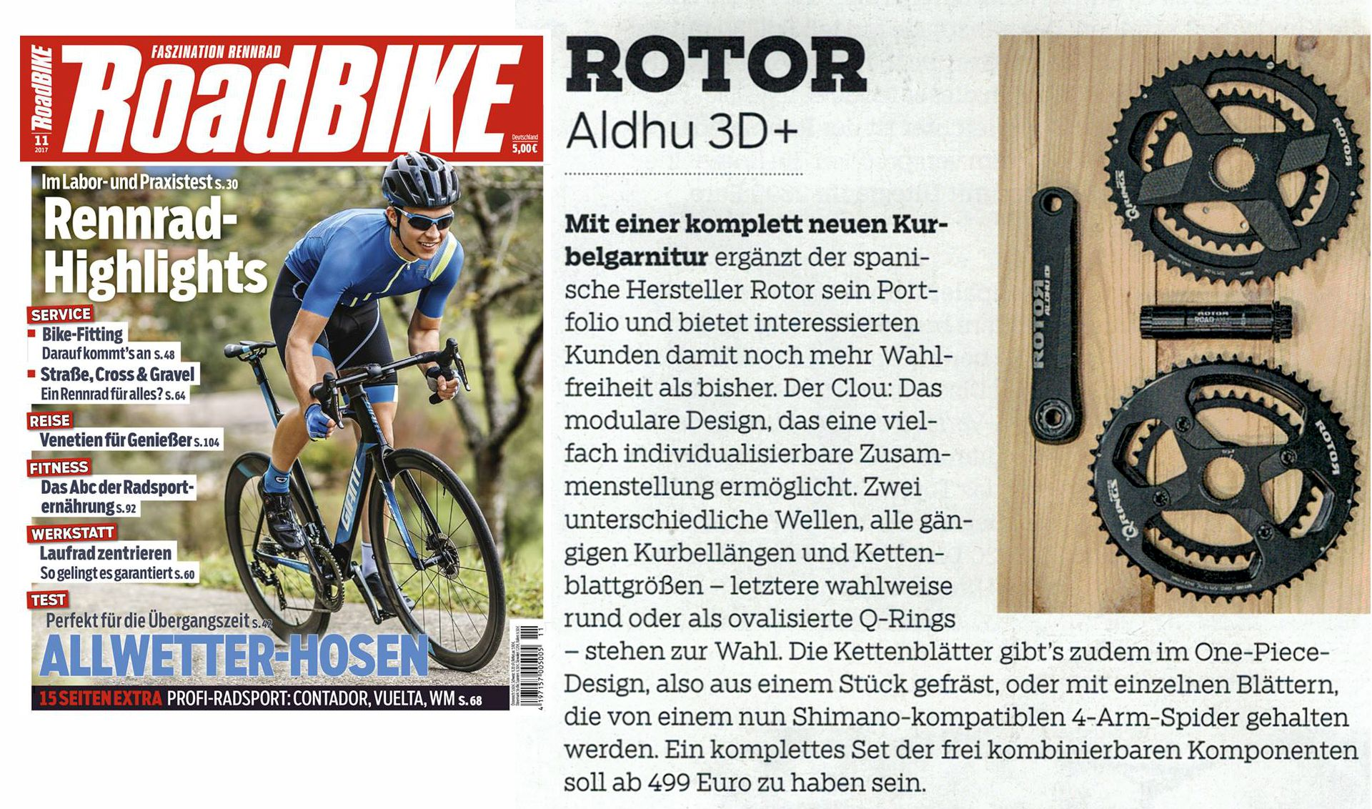 ROTOR ALDHU 3D+ in der Roadbike