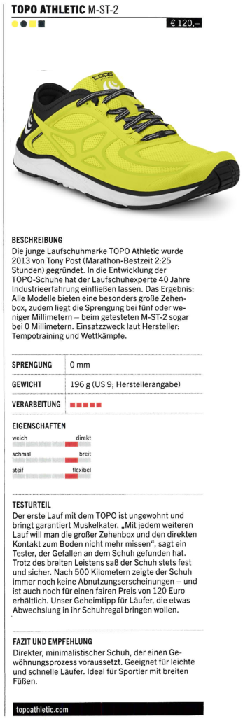 Triathlon Magazin testet den TOPO ST-2 Laufschuh
