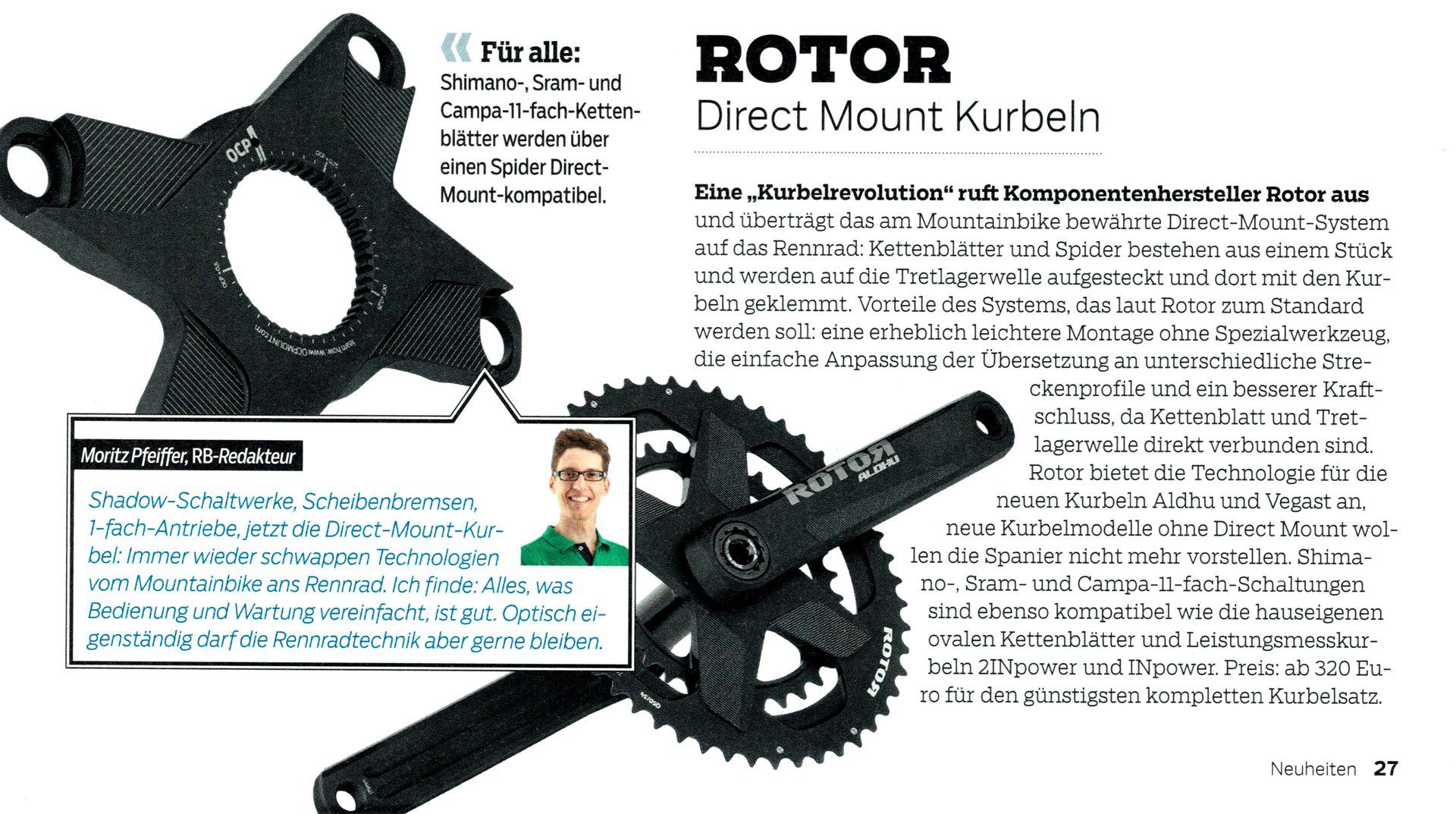 Roadbike kommentiert Direct Mount Kurbeln von Rotor